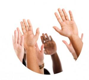 Raised-hands volunteers