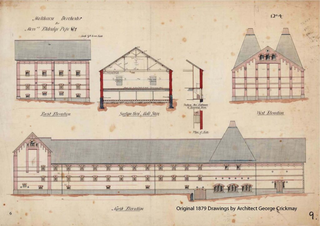 The original 1879 plans for The Maltings by architects George Crickmay